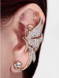 Beauteous Butterfly Earclip - White (Left ear)