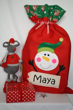 Kids Personalised Santa Father Christmas Drawstring Bag for Chistmas Gifts !!