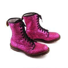 Glitter Doc Martens Vintage 1990 Magenta Pink Glitter Doc Martens Boots UK Size 9. $548.00, via Etsy.