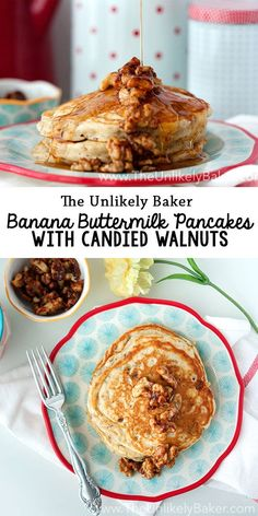 These banana buttermilk pancakes are light, fluffy and delicious! Topped with candied walnuts and maple syrup, they're a wonderful start to the day. Vegetarian Breakfast Recipes, Savory Breakfast, Sweet Breakfast, Breakfast Ideas, Breakfast Club, Breakfast Buffet, Waffle Recipes, Brunch Recipes, Pancake Recipes