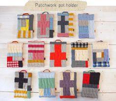 patchwork pot holders; a good idea for vintage flour sacks or fabric scraps