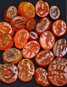 Carved in Carnelian. With engraved portraits and representations of Roman deities and emperors. century AD, found in ancient Singidunum, present-day Belgrade, capital of Serbia. Collection of Belgrade City Museum
