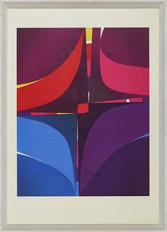 GUNNAR S. GUNDERSEN FORDE 1921 - BÆRUM 1983  Composition in purple  Fargeserigrafi, 121/170. 54x44 cm  Signed lower right: Gunnar S. Abstract, Logos, Artwork, Artist, Summary, Work Of Art, Logo, A Logo, Amen