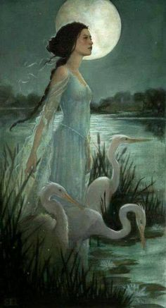 Today we're featuring the beautiful art of Inheritance Cycle fan and artist Kim Kincaid, who passed away unexpectedly just last year. Art And Illustration, Art Illustrations, Fantasy Kunst, Art Vintage, Fairytale Art, Fairytale Fantasies, Moon Art, Faeries, Dark Fantasy