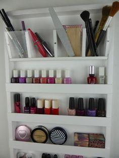 White make up organizer display bathroom by CraftersCalendar Makeup Organization Ikea, Clutter Organization, Organizing, Glitter Paint For Walls, Make Up Organiser, Lipstick Holder, Hidden Storage, Diy Makeup, Bathroom Storage