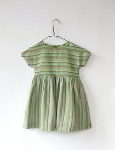 Image of linen day dress-green stripe