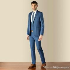 Custom Made Slim Fit Two Buttons block Groom Tuxedos Notch Lapel ...