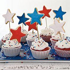 Red, White, and Blue Recipes  | Celebration Cupcakes | MyRecipes.com