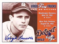 Rare Collectible World Series Champ Virgil Trucks Autographed Hand Signed Card. Comes with certificate of authenticity. Trucks is a former starting pitcher in Major League Baseball. From 1941 through