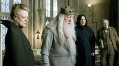 Professor McGonagall (Maggie Smith), Professor Dumbeldore (Richard Harris), Professor Snape (Alan Rickman) and Professor Slughorn (Jim Broadbent). Harry Potter Severus Snape, Harry Potter Cast, Draco, Sorting Quiz, Harry Potter Scrapbook, Hogwarts Professors, Maggie Smith, Hogwarts Mystery, I Movie