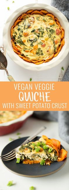 Vegan veggie quiche with sweet potato crust with a secret ingredient. Wholesome, healthy, filling and delicious. Perfect for an easy brunch of breakfast! Nutritionalfoodie...