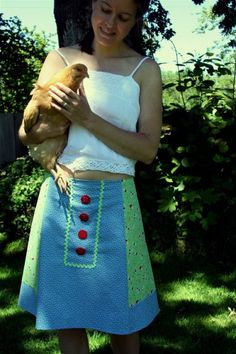 Mother Goose Feedsack Aline Skirt shabby chic vintage country mori girl backyard chickens by Outta the Attic