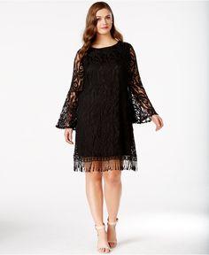 ING Plus Size Lace Fringe-Trim Dress - Dresses - Plus Sizes - Macy's