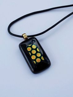 Fusing Glass Pendant Noche oro by SILVINADESIGNS on Etsy, $30.00