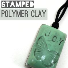 Stamped Polymer Clay Word Pendant