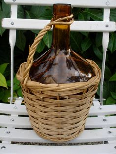 French small Demijohn bottle wicker by sissidavril on Etsy. $28.00, via Etsy.