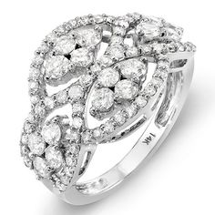 White Gold Round Diamond Ladies Cocktail Ring | Diamond Cocktail Ring