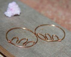 Copper Hoop Earrings. Fern Earrings. Organic by BirchBarkDesign