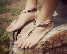 Pies descalzos hombres sandalias - zapatos hechos a mano - ceremonia de la boda - playa sandalias - sandalias de cáñamo - toe tanga - sandalias - zapatos hippie de cuentas