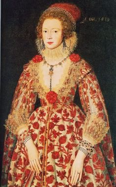 Portrait 17th century dress is very decorated with v neck line. Its tight at the waist and then loose,with decorations on the wrists