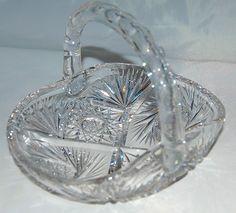 American Brilliant Period Cut Glass Basket circa 1875-1915 Antique from Antik Avenue on Ruby Lane
