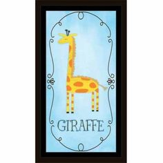 Giraffe Illustration Watercolor Border Juvenile Painting Blue, Framed Canvas Art by Pied Piper Creative, Brown