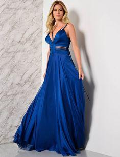 Vestido longo azul r