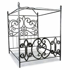 Each bed is handmade, hand-finished and powder-coated for an aged pewter finish. Canopy frame is made for king or queen sized beds. Fits queen bed inches wide x 80 inches long) or king bed inc Iron Canopy Bed, Canopy Frame, Bed Frame And Headboard, Bed Frames, Canopy Beds, Bedroom Furniture Stores, Iron Furniture, Furniture Deals, Village House Design