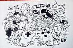 hình vẽ trắng đen nét tổng hợp nhân vật hoạt hình - Google Search