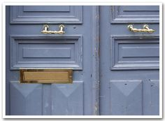 grey blue doors in paris, france