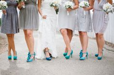 PERFECT! Dark charcoal gray with turquoise shoes for my wedding day