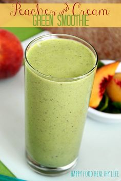 Peaches & Cream Green Smoothie - a deliciously fruity flavored smoothie packed full of green nutrients! // Happy Food Healthy Life
