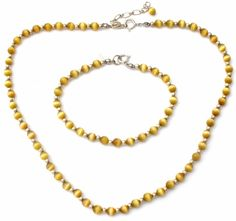 Yellow Cats Eye Bead Necklace & Bracelet Sterling Silver Set Vintage Glass Beads | Jewelry & Watches, Vintage & Antique Jewelry, Fine | eBay!