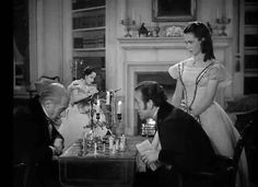 Merle Oberon, David Niven, Geraldine Fitzgerald and Cecil Humphries in Wuthering Heights 1939