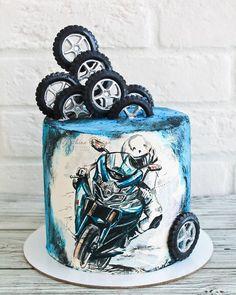 No photo description. 30th Birthday Cakes For Men, Homemade Birthday Cakes, Dirt Bike Kuchen, Bmw Cake, Dirt Bike Cakes, Foto Pastel, Motorcycle Cake, Realistic Cakes, Fantasy Cake