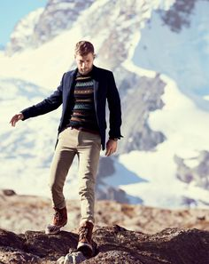 J.Crew Alpine Fair Isle in deep navy sweater, sun-faded chino and the Sorel® Caribou® boots.