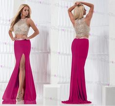 2 Pieces Rosy Beading Sleeveless Sexy Long Prom Dress 2016 on Luulla