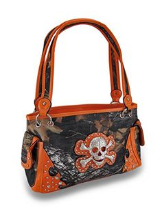 Forest Camo Nylon Canvas Rhinestone Skull Studded Vinyl Trim Purse -- Check  out the image by visiting the link. d292d0b6b5