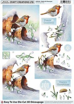3D. - snow scene with robin