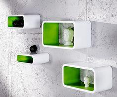 Retro Lounge cubes - 4 set wit-groen. retro wandkubussen voor vloer of wand. Lekker retro 60ies - 70ies.