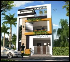 Home Design Plan This villa is modeling by SAM-ARCHITECT With Three stories level. It's has 3 bedrooms.Home Design Plan 3 Storey House Design, Duplex House Plans, Bungalow House Design, House Front Design, Small House Design, Front View Of House, Modern Exterior House Designs, Latest House Designs, Architectural Design House Plans