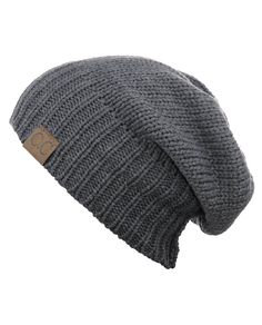 NYfashion101 Exclusive Two Way Cuff & Slouch Warm Knit Ribbed Beanie, Light Melange Gray