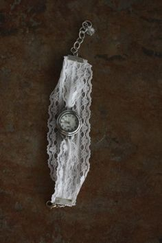 Vintage DIY Watch With A Lace Bracelet | Shelterness (for mine I might discolor the lace to look more old and worn - Cal)