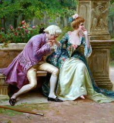 """An Amorous Advance"" by Auguste Serrure (1825-1903)."