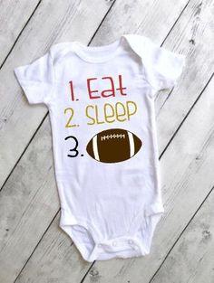 0a97c7e73c7 Eat sleep football onesie   49er baby gifts