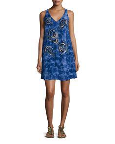 Sleeveless Floral-Bead Trapeze Dress, Size: X-SMALL