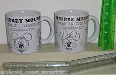 """Mickey & Minnie Mouse Disney 4"""" Ceramic Character Construction Coffee Mugs Cups"""