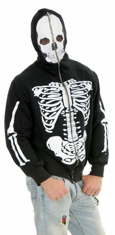 Skull /& Crossbones Hoodie Skeleton Fancy Dress Halloween Adult Costume Accessory