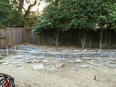 Dry stack retaining wall.