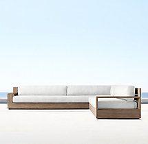 Marbella Teak Classic Left/Right-Arm L-Sectional Cushions